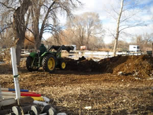 You do need proper equipment to manage the manure. We use an old , tustworthy John Deere 950 for all sorts of land stewardship chores!