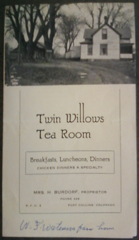Historic Twin Willows Tea Room brochure cover - Poudre River Stables - 930 N. Shields St. - Fort Collins - Colorado - 80521 - Photo Courtesy Fort Collins Local History Archive