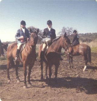 "Earlier days: My sister on her horse, Orbit, left, and me on my Morgan-Quarter-cross, ""Epa"", whose name was allegedly Native American for ""hiccup""."