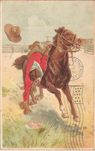 Historic horses - postcard - 1909 - Estherville - IA - flag pickup.