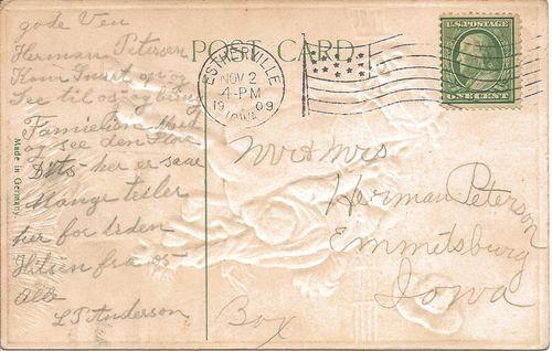 Historic horses - postcard message - Estherville - Iowa