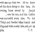 "1874 newspaper snippet touting Joseph's trotting horse, ""Sam"" - ColoradoHistoricNewspapers.org"