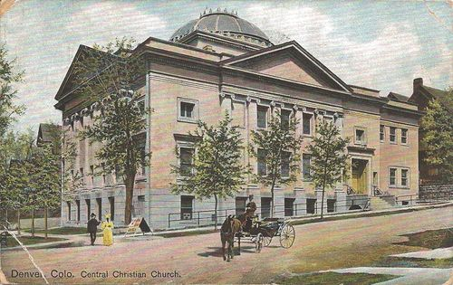 Historic horses - postcard - Central Christian Church - Denver - Colorado - 1908