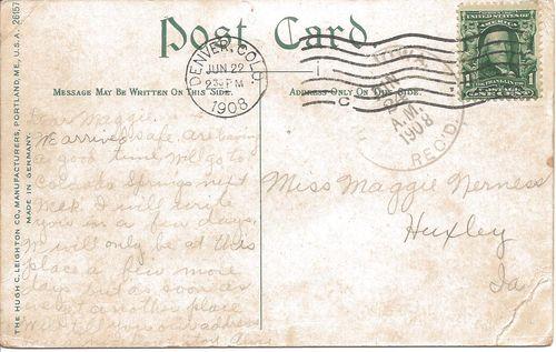 Historic horses - postcard message - 1908