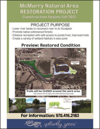 Overview of the McMurry Natural Areas project - lowering of the north bank of the Poudre River east of N. Shields Steet - Fort Collins - Colorado - 80521