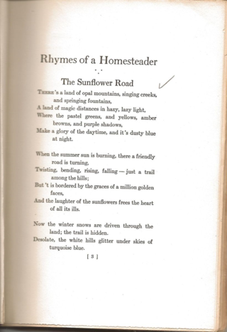 Elliot C. Lincoln - Rhymes of a Homesteader - The Sunflower Road